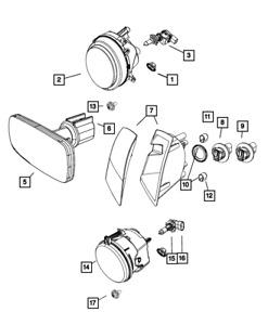 Genuine MOPAR Headlamp Right 68088868AD