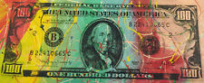 Old $100 Hundred Dollar Bill by Steve Kaufman SAK 10/50 15x37 Painting