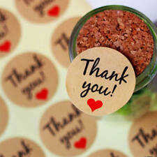 120x Kraft Paper Thank You Gift Stickers Personalised Wedding Favours Labels