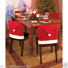 PACK OF 8 CHRISTMAS SANTA HAT DINING CHAIR COVERS XMAS DECORATION UK SELLER