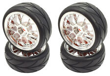 Apex RC Products 1/10 On-Road Chrome Mesh Wheels / V Tread Tires #5007