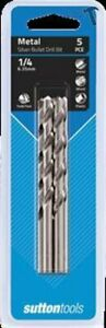 """PACK OF 5 Sutton HSS DRILL BITS  1/4"""""""