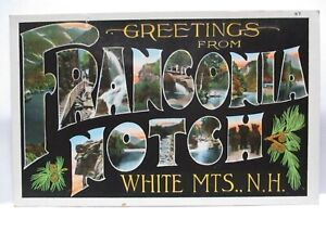 """1930 LARGE LETTER POSTCARD """" GREETINGS FROM FRANCONIA NOTCH NH """" W/ SITES UNUSED"""