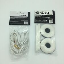 White HD-25 Spiral DeLuxe Cable for Sennheiser Headphone HD 25 and Ear Pads Kit