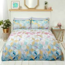 "Rapport ""Quartz"" Geometric Marble Print Duvet Cover Bedding Set Multi, Gold"