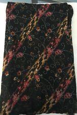 Black  Floral Print Vintage Design Fabric Material  Craft Home Decor silk Sari