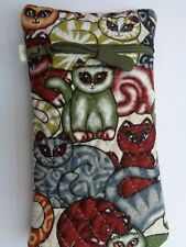 ZIPPERED GLASSES SPECTACLE CASE POUCH  CAT FABRIC