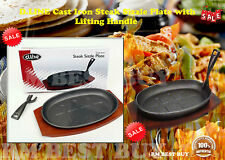 100% Genuine! D.LINE Cast Iron Steak Sizzle Plate w/Lifting Handle!BRAND NEW