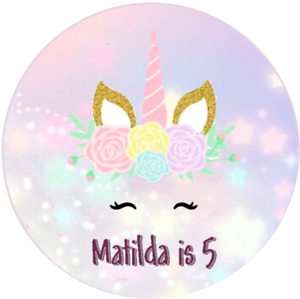 Personalised Unicorn Lilac Cake Cupcake Toppers