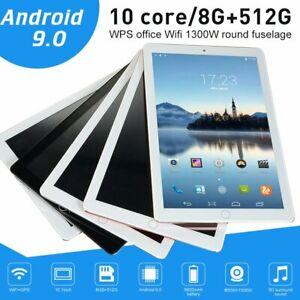 """2020 10.1"""" WIFI Tablet Android 9.0 HD 8G+512G 10 Core PC Google GPS+ Dual Camera"""