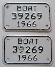 Michigan 1966 BOAT License Plate NICE QUALITY PAIR # 39269