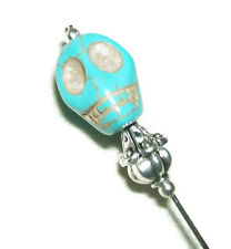 Stick Hat Pin Long Hatpin SILVER Plt Turquoise Blue Carved STONE SKULL Skeleton