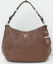 PRADA Vitello Phenix Hobo Brown Leather Medium Handbag