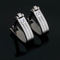 X-522 Stainless Steel Austrian Crystal Wedding Cufflinks Gift Box FREE SHIPPING