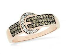 Belt Buckle Ring 10K Rose Gold Chocolate Brown & White Diamond Band .25ct Cute