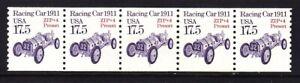 US 2262a MNH 1988 17.5¢ Racing Car1911 PNC Precancel Strip of 5 Plate #1