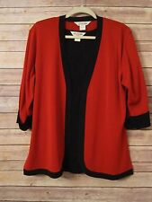 Exclusively Misook Black Knit Tank w/ Red Open Front Sweater Black Trim Sz PS, S