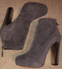 B Brian Atwood Hidden Platform Grey Suede Booties High Heel Shoes Boots 8