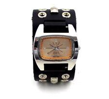 X Fly Wrist Watch Pyramid Studs Eyelets Leather Watchband Quartz Analog