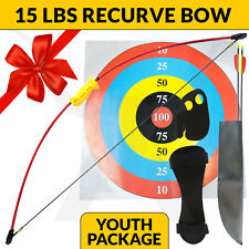 NEW 15 LBS APEX WIZARD JUNIOR KIDS RECURVE LONG BOW RED ARCHERY SET HUNTING