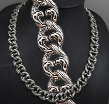 """24"""" 250g HEAVY TRIBAL CURB 925 STERLING SILVER MENS BIKER NECKLACE CHAIN pre"""