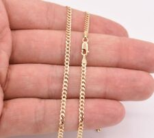 """24"""" Cuban Curb Link Chain Necklace Real Solid 14K Yellow Gold 2.6mm"""