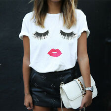 KEP US Womens Summer Harajuku T-Shirt Eyelash Lips Printed Loose Casual Tops Tee