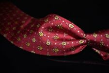 Hermes Made in France Strawberry Red Gold Floral Cube Geometric Silk Tie 7904 MA