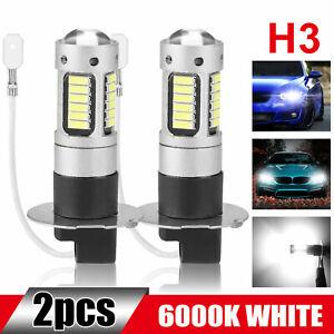 2Pcs H3 Super Bright CREE LED Fog Driving DRL Light Bulbs Kit 6000K White 100W