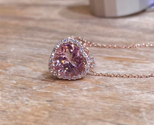 "2Ct Heart Cut Morganite Diamond Halo Pendant 14K Rose Gold Finish 18"" Free Chain"