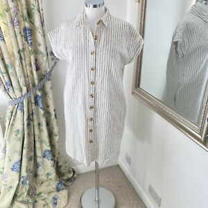 Fat face Size 10 navy striped linen shift dress summer loose fit shirt buttons