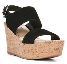 VIA SPIGA Womens 'Kezia' Black Suede Platform Wedge Sandals Sz 9.5 M - 231247