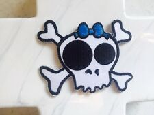 Baby Girl Skull Crossbones Now Blue Embroidered Iron On Patches Patch