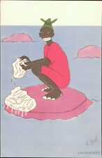 Black  African Vintage Washing Clothes France Ed. SAEC Lavandiere  RL610
