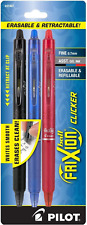 Pilot Frixion Clicker Erasable Gel Pen Assorted Ink 3 Per Pack 31467 Blackbl