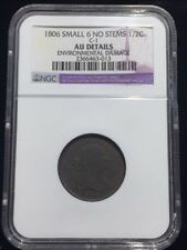 1806 1/2C Small 6 No Stems BN Draped Bust Half Cent NGC AU Details