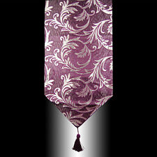 PURPLE EMBROIDERY SILVER FEATHERS DECORATIVE TASSELS WEDDING TABLE RUNNER CLOTH