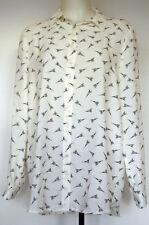 MNG Basics White Eiffel Tower Paris Print Button-Front L/S Tunic Poly Shirt 8