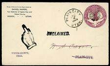 COVER ~ Unclaimed Mail ~ Plain City Utah DPO 3 ~ 1893 ~ S5048
