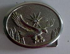 Vintage AMERICAN SOARING EAGLE with rhinestone chip sunburst BELT BUCKLE
