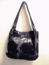 Designer Inspired Black Handbag Black Flowers