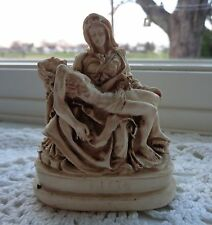 "VINTAGE CARVED ITALY MINIATURE 3"" PIETA STATUE FIGURE SIGNED A.G. JESUS MARY"