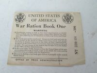 United States War Ration Certificate Paper Book One 4 Coupons 1942