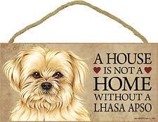 Lhasa Apso Wood Dog Sign Wall Plaque 5 x 10 + Bonus Coaster