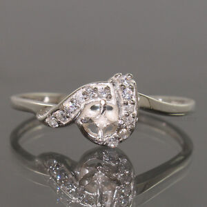 BEAUTIFUL DESIGNER RING ALL SIZES 3MM ROUND CZ SEMI MOUNT 925 STERLING SILVER