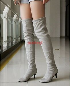 Womens Faux Suede Pull On Kitten Heel Pointed Toe Over The Knee Knight Boots Sz