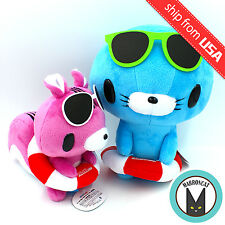 2x Japan Gloomy Bear x Bonobono Pink Squirrel & Blue Seal Plush Doll Cute Kawaii