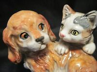 Vintage ENESCOCocker Spaniel Puppy w/Kitten Figurine Hand Painted Ceramic E9404