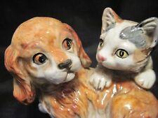 Vintage ENESCOCocker Spaniel Puppy w/Kitten Figurine Hand Painted Ceramic E9404