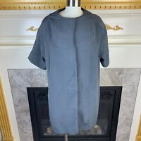 New MARNI Womens 40 Gray Textured Short Sleeve Silk Blend Button Snap Jacket